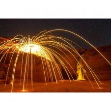 Spinning steel wool outside of...